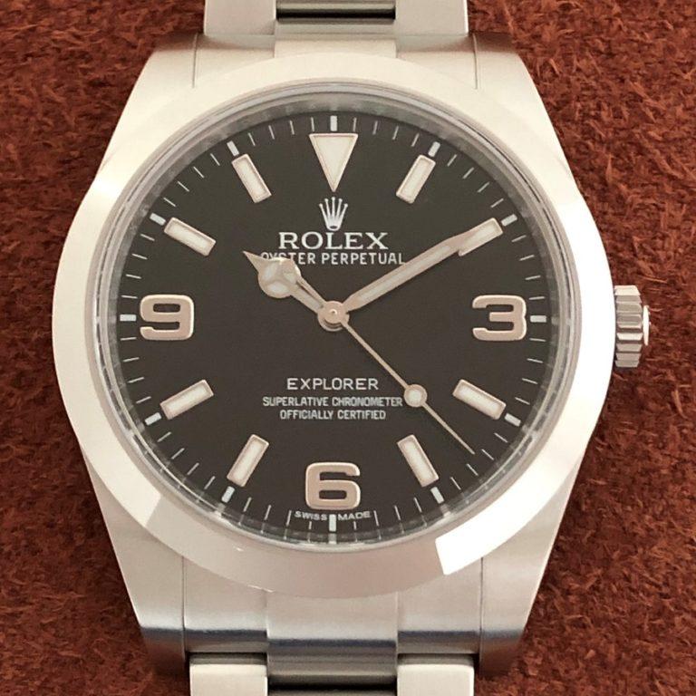 ロレックス(ROLEX)エクスプローラー1 Ref.214270 ランダム番 SS ブラック文字盤 鏡面バックル 中古