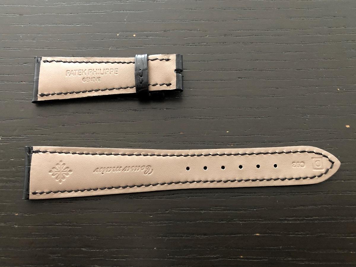 パテックフィリップ(PATEK PHILIPPE)レザー(革)ベルト 21×16mm ブラック×同色ステッチ 未使用9-02