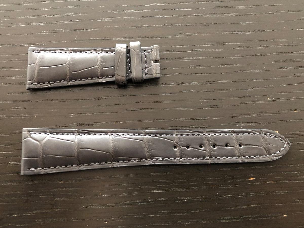 パテックフィリップ(PATEK PHILIPPE)レザー(革)ベルト 21×16mm ライトブラウン×アイボリーステッチ 未使用11-01