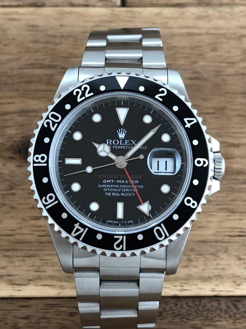 ロレックス GMTマスター 16700 U番 ザ・リアルマッコイズ 限定50本 の正面からの画像。